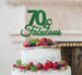 70 & Fabulous Cake Topper 70th Birthday Glitter Card Green