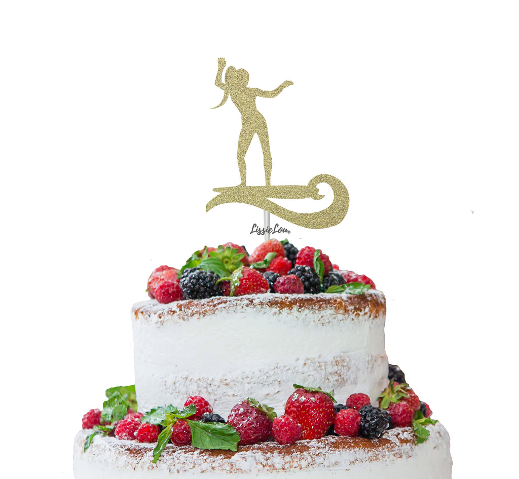 Surfer Female Cake Topper Glitter Card Gold