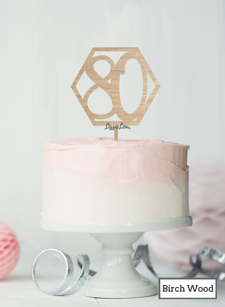 Hexagon 80th Birthday Cake Topper Premium 3mm Birch WoodHexagon 80th Birthday Cake Topper Premium 3mm Birch Wood