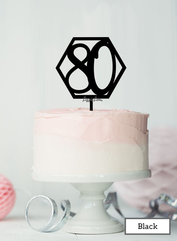 Hexagon Number 80th Birthday Topper Premium 3mm Acrylic