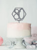 Hexagon 80th Birthday Cake Topper Premium 3mm Acrylic Glitter Silver