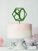 Hexagon 80th Birthday Cake Topper Premium 3mm Acrylic Mirror Green