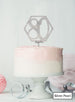 Hexagon 80th Birthday Cake Topper Premium 3mm Acrylic Silver Pearl Effect