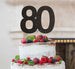 80th Birthday Cake Topper Glitter Card Black