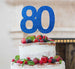 80th Birthday Cake Topper Glitter Card Dark Blue