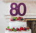 80th Birthday Cake Topper Glitter Card Dark Purple
