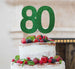 80th Birthday Cake Topper Glitter Card Green