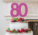 80th Birthday Cake Topper Glitter Card Hot Pink