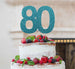 80th Birthday Cake Topper Glitter Card Light Blue