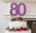 80th Birthday Cake Topper Glitter Card Light Purple