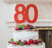 80th Birthday Cake Topper Glitter Card Red
