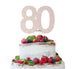 80th Birthday Cake Topper Glitter Card White