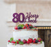 80 Years Loved Cake Topper 80th Birthday Glitter Card Dark Purple