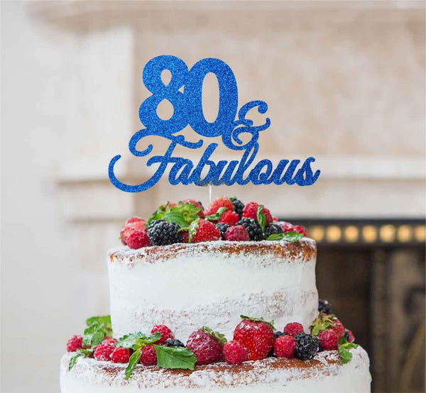 80 & Fabulous Cake Topper 80th Birthday Glitter Card Dark Blue