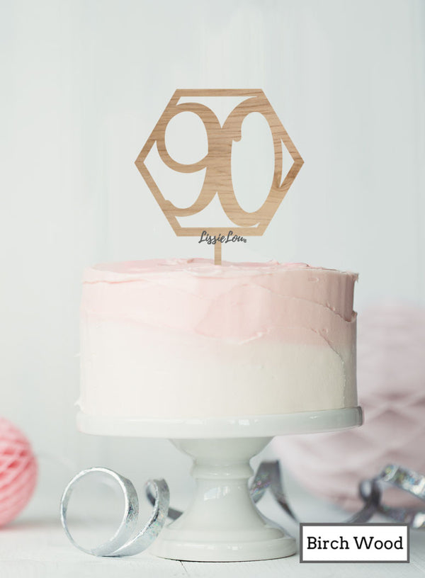 Hexagon 90th Birthday Cake Topper Premium 3mm Birch Wood