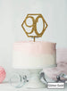 Hexagon 90th Birthday Cake Topper Premium 3mm Acrylic Glitter Gold