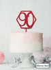 Hexagon 90th Birthday Cake Topper Premium 3mm Acrylic Mirror Red