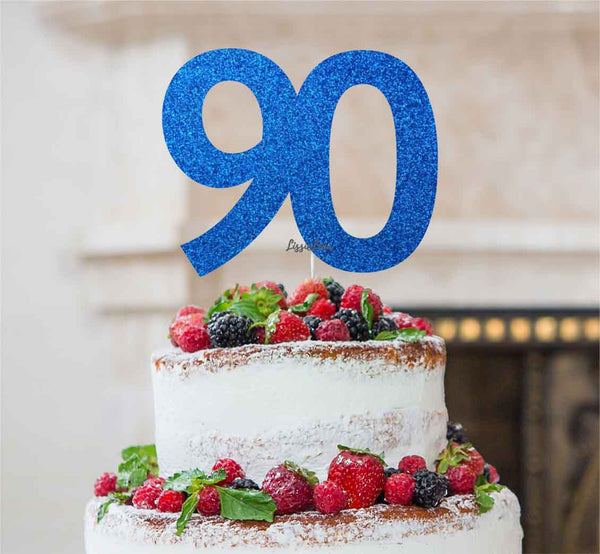 90th Birthday Cake Topper Glitter Card Dark Blue