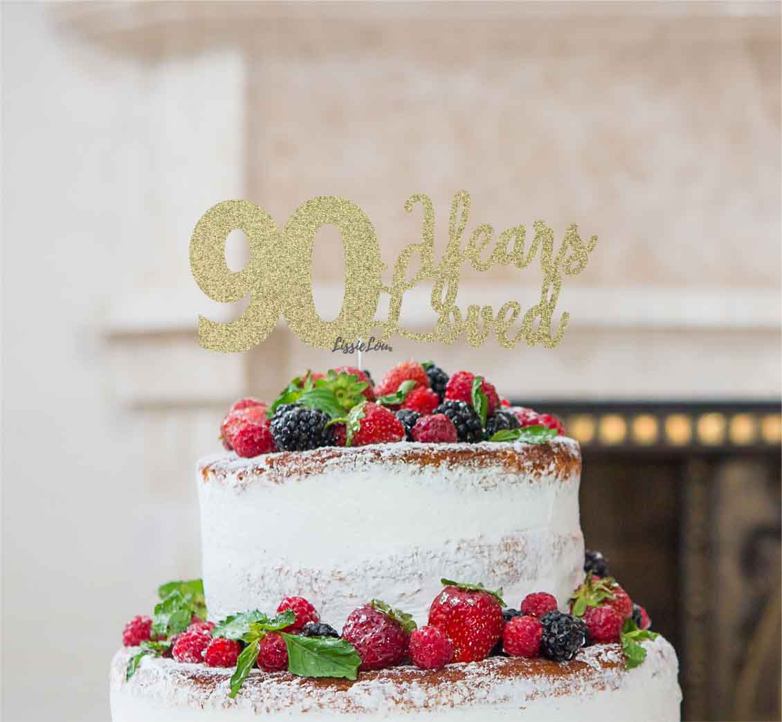 90 Years Loved Cake Topper 90th Birthday Glitter Card Gold
