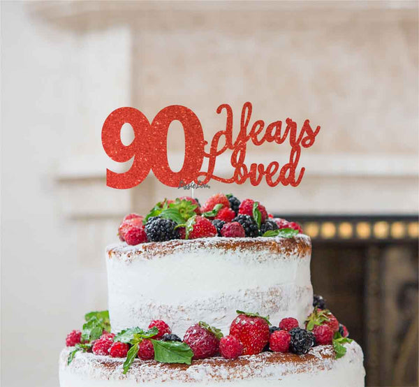 90 Years Loved Cake Topper 90th Birthday Glitter Card Red