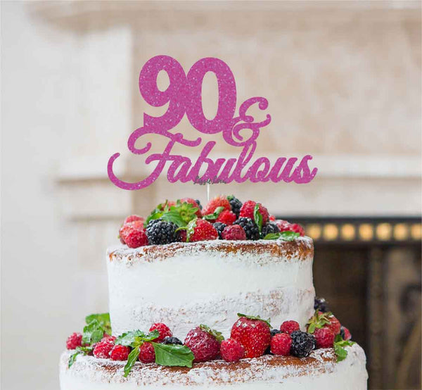 90 & Fabulous Cake Topper 90th Birthday Glitter Card Hot Pink