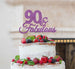 90 & Fabulous Cake Topper 90th Birthday Glitter Card Light Purple