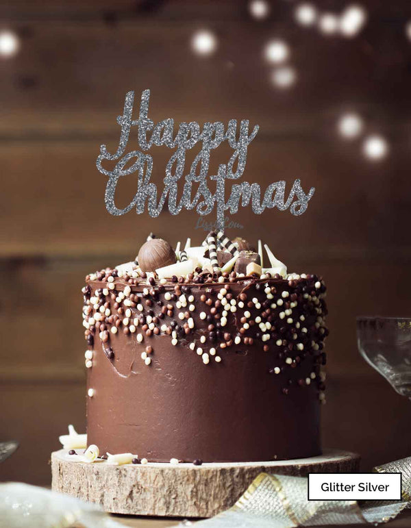 Happy Christmas Pretty Cake Topper Premium 3mm Acrylic Glitter Silver