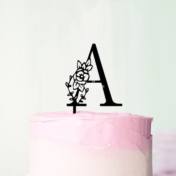 Wedding Floral Initial Letter A Style Cake Topper