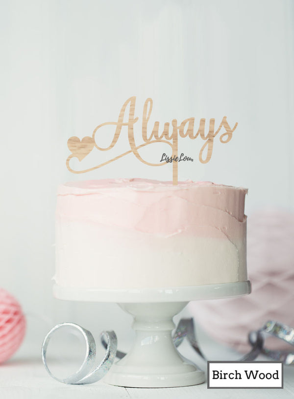 Always with Heart Cake Topper Premium 3mm Birch Wood
