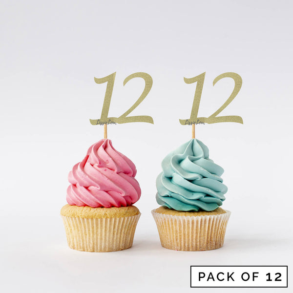 Number 12 Cupcake Toppers Pack of 12
