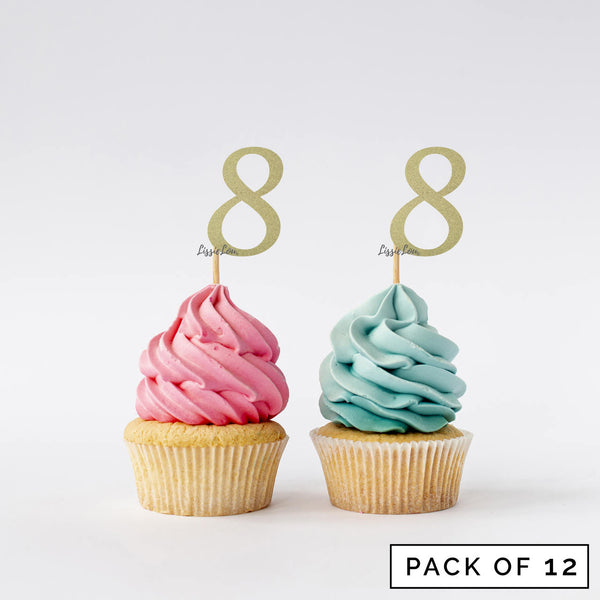 Number 8 Cupcake Toppers Pack of 12