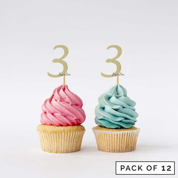 Number 3 Cupcake Toppers Pack of 12