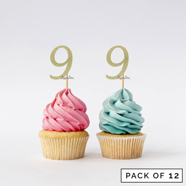 Number 9 Cupcake Toppers Pack of 12