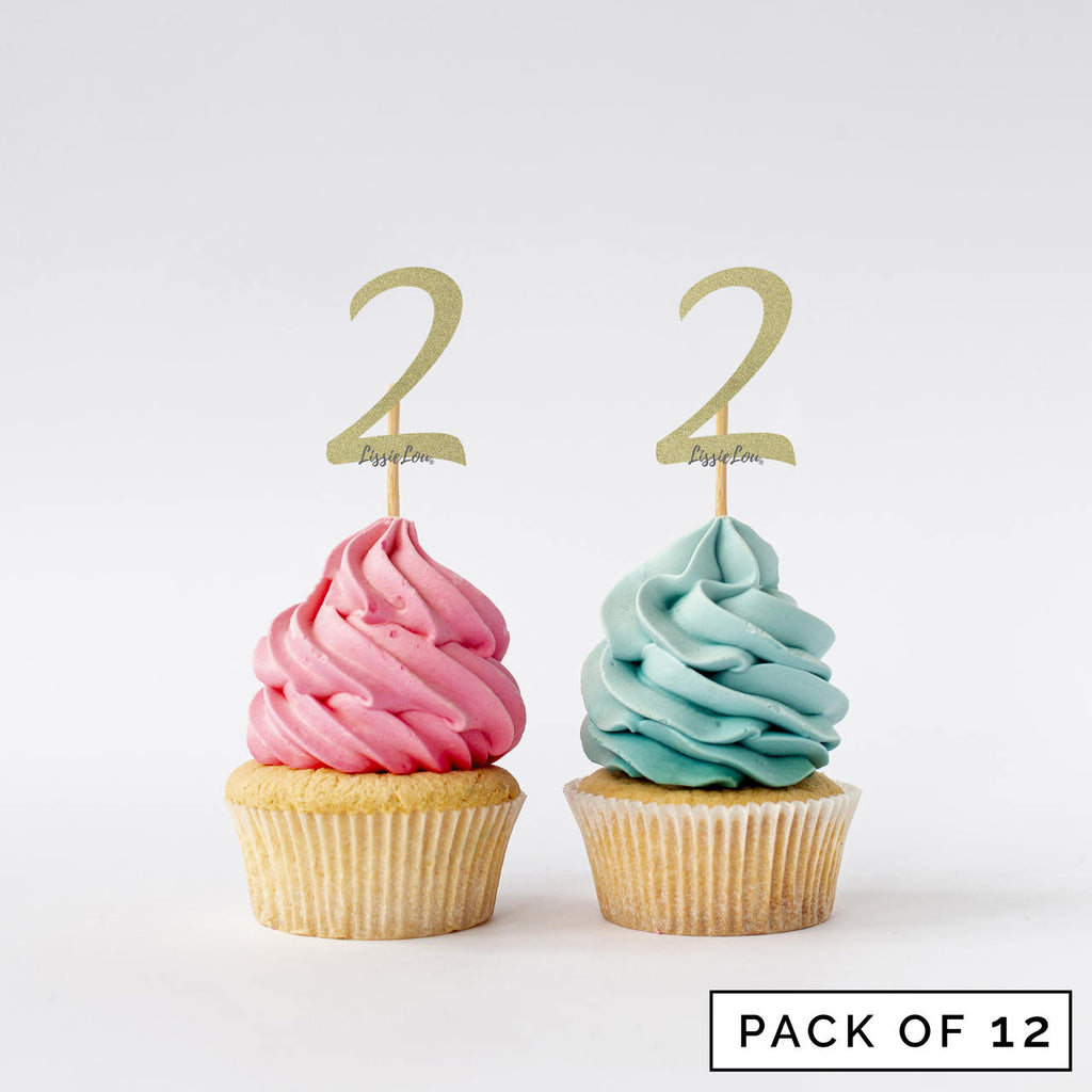 Number 2 Cupcake Toppers Pack of 12