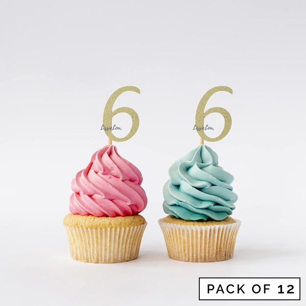 Number 6 Cupcake Toppers Pack of 12