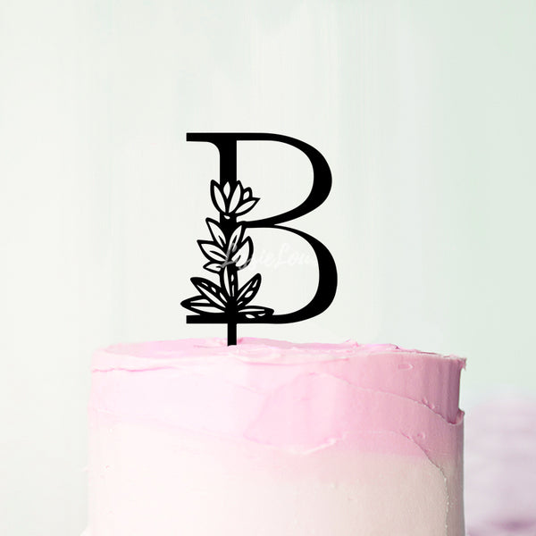 Wedding Floral Initial Letter B Style Cake Topper