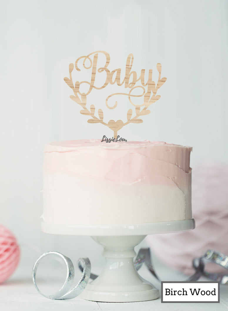 Baby Semi-Wreath Baby Shower Cake Topper Premium 3mm Birch Wood