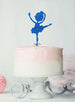 Ballerina Dancing Birthday Cake Topper Glitter Card Dark Blue