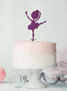 Ballerina Dancing Birthday Cake Topper Glitter Card Dark Purple