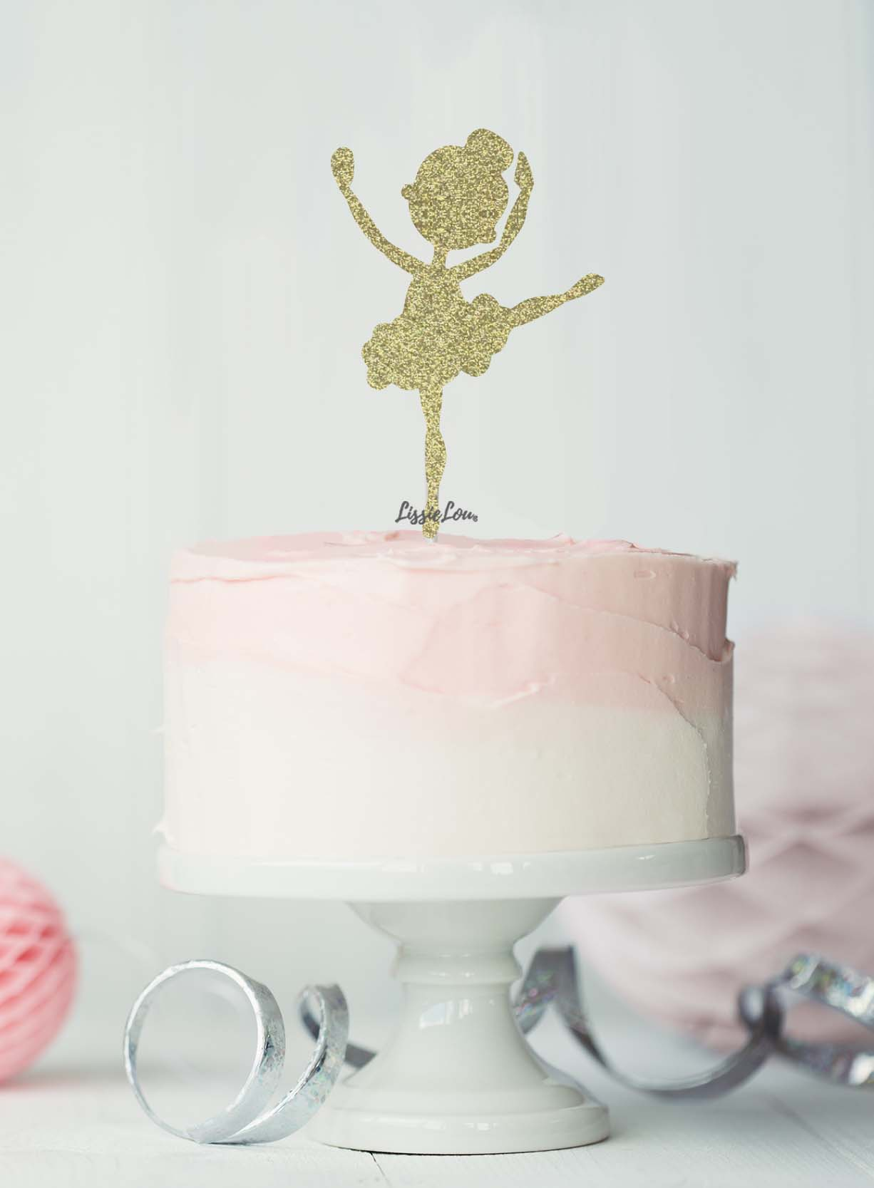 Admirable Ballerina Dancing Birthday Cake Topper Glitter Card Lissielou Personalised Birthday Cards Cominlily Jamesorg
