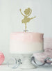 Ballerina Dancing Birthday Cake Topper Glitter Card Gold