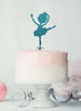Ballerina Dancing Birthday Cake Topper Glitter Card Light Blue
