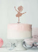 Ballerina Dancing Birthday Cake Topper Glitter Card Rose Gold