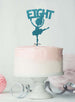Ballerina Eight 8th Birthday Cake Topper Glitter Card Light Blue