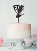 Ballerina Five 5th Birthday Cake Topper Glitter Card Black
