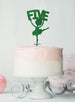 Ballerina Five 5th Birthday Cake Topper Glitter Card Green