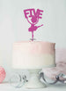 Ballerina Five 5th Birthday Cake Topper Glitter Card Hot Pink
