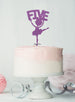 Ballerina Five 5th Birthday Cake Topper Glitter Card Light Purple