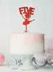 Ballerina Five 5th Birthday Cake Topper Glitter Card Red