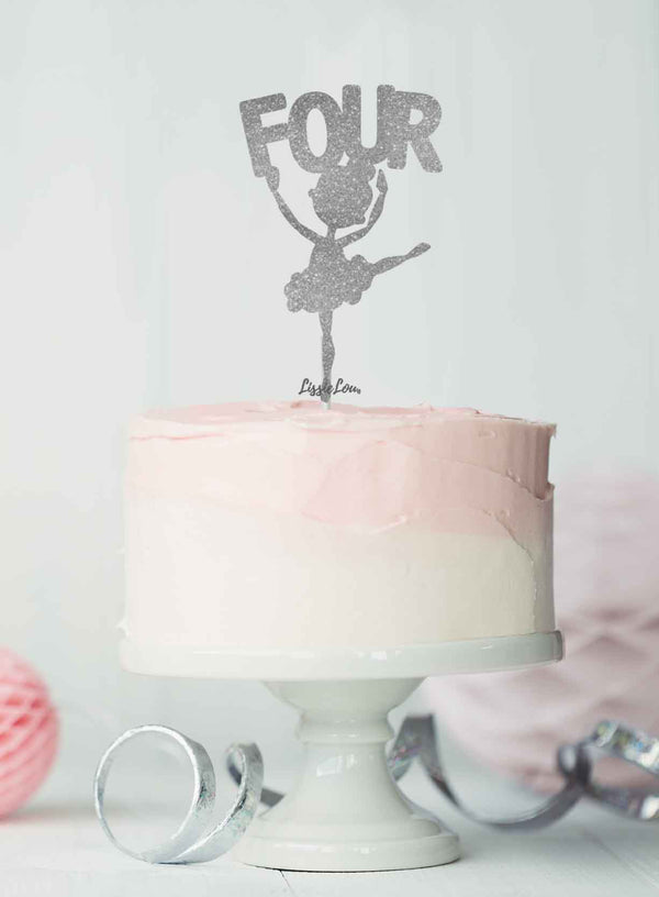 Ballerina Four 4th Birthday Cake Topper Glitter Card Silver